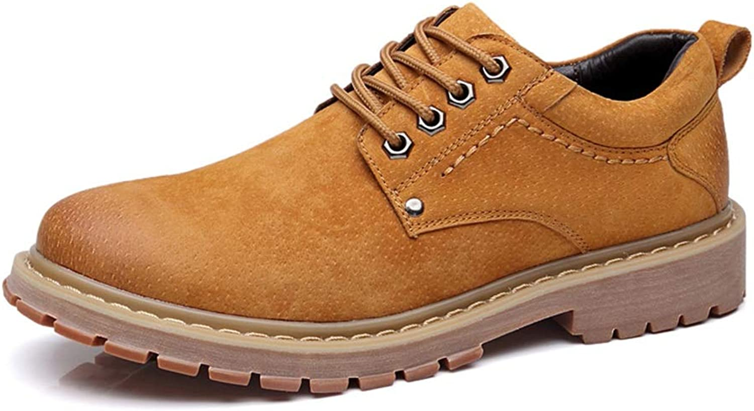 CHENDX shoes, Men's Vintage Round Toe Lace Up Oxfords Genuine Leather Low Heel Work Boots (color   Brown, Size   6.5 UK)