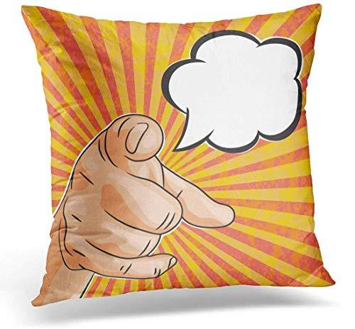 Throw Pillow Pop Vintage Man Hand Apuntando hacia ti con Bocadillo de Texto Estilo de cómic Brillante Necesitamos querer Almohada Decorativa Decoración para el hogar Almohada Cuadrada