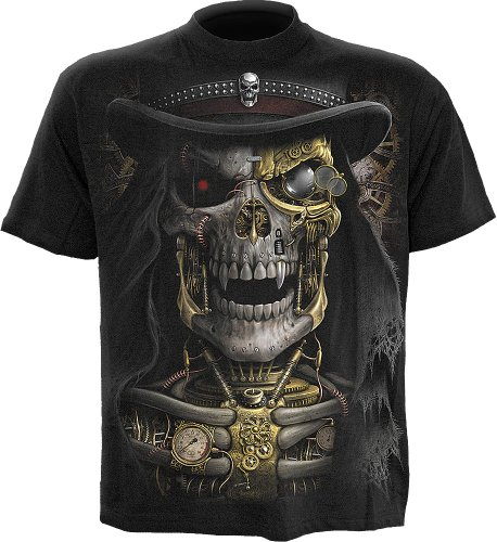 Spiral Direct Herren Steam Punk Reaper T-Shirt, Schwarz (Black), Gr. L