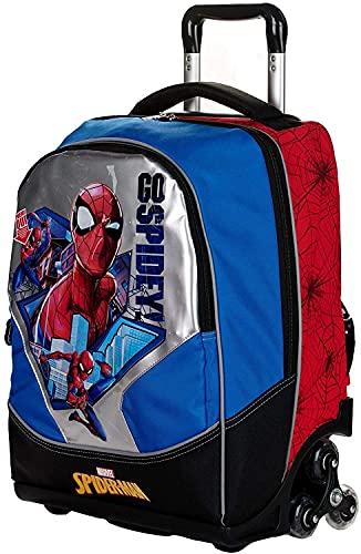 Marvel Spider Man 21 Zaino Trolley con Schienale e Spallacci Imbottiti, 2 Ruote Light, Spidey, Giochi Preziosi, Multicolore