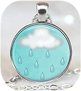 White cloud and rain necklace,Cute cloud sky jewelry, Rain and cloud necklace, Blue sky jewelry (silver)