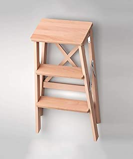 Step Stool HTTTD Home Family Utility Solid Wood Stairs Chair Ladder Chair Home Fold Climb Up Wooden Utility Step Ladder St...