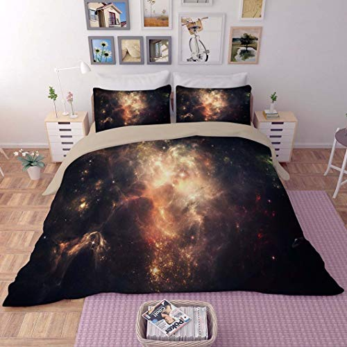 Gorgeous Store Conjunto De Ropa De Cama Conjunto De Tapa De Edredón Nebula Starry Sky - con Funda De Almohada Twin - Single 3 Pieza, 1 Funda De Edredón + 2 Pillowcasas (Color : A, Size : 140X210cm)