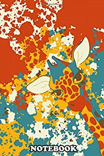 Notebook: Funny Giraffe On Abstract Background Drawing Graphic , Journal for Writing, College Ruled Size 6