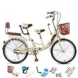 NANDAN 22-24 Pulgadas Bicicletas de Padres y niños, la Madre y del bebé de la Bicicleta, Bicicleta de Acero al Carbono de Alta, Viaje Ordinario, Retro Vintage, de 3 plazas,24inch