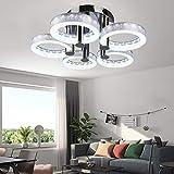 MoreChange Modern Led Acrylic Ceiling Light with 5 Rings Flush Mount Chandelier Pendant Lighting Fixture for Office Bedroom Living/Dining Room (Cool White 6500K)