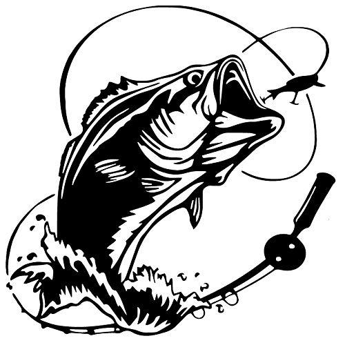 2 piezas, etiquetas engomadas del coche, etiquetas engomadas divertidas del coche de Black Ocean Bass Fish, etiqueta engomada del vinilo pegatinas de la ventana del coche, etiqueta engomada del