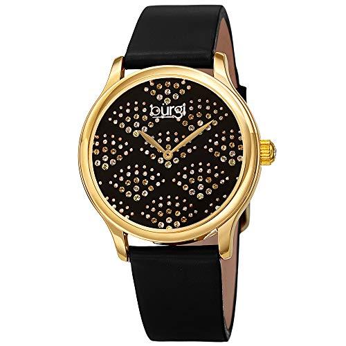 Burgi BUR238 - Reloj de pulsera para mujer con cristales de Swarovski, esfera brillante con un hermoso patrón de abanico, correa de piel de color brillante (Reloj)