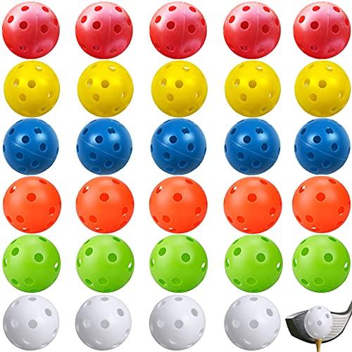 Pelotas de Entrenamiento de Golf,30 Piezas Pelotas de Golf de plástico,Bolas de Golf Huecas,26 Hoyos Pelotas de Entrenamiento de Golf para práctica de Columpio, Rango de conducción, Uso(6 Colores)