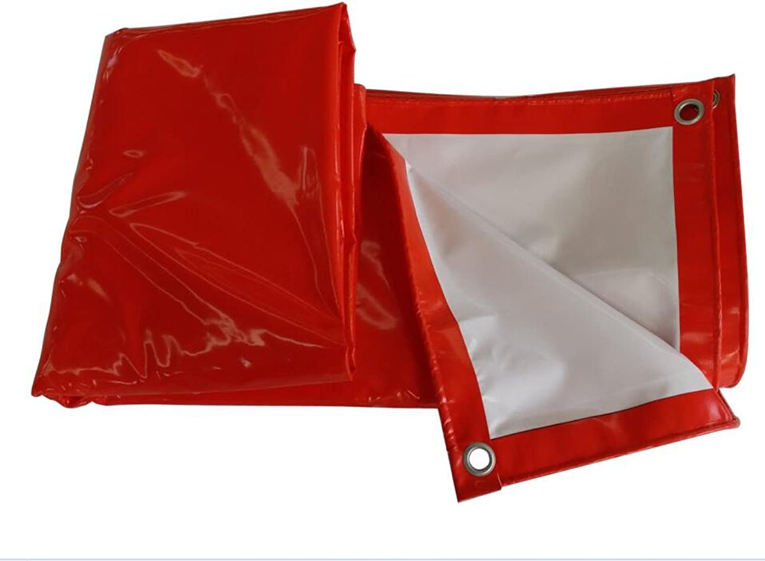 Red and White Twocolor rain Cloth Sun Predection Windproof Tarpaulin Cover Cloth Tarpaulin 520g Shade Tarpaulin PVC Coated Plastic Cloth Outdoor Shade Cloth (color   Red, Size   34m)