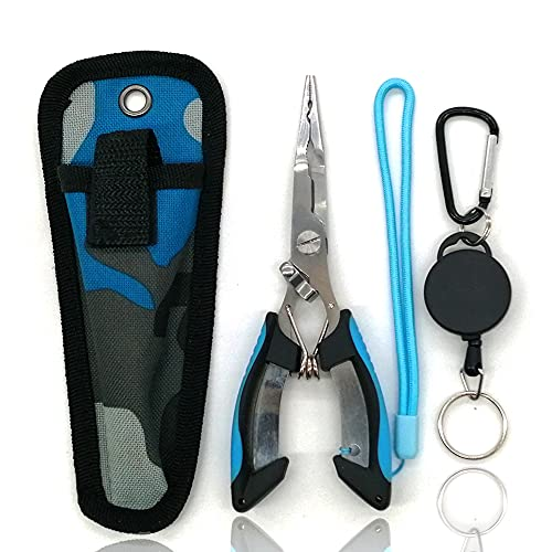 Amoygoog Stainless Steel Fishing Pliers, Fishing Needle Nose Pliers, Cut Fishing Line Fishing Multitool Pliers with Sheath and Telescopic Lanyard