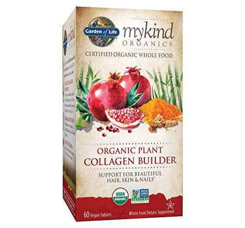 Garden of Life Vegan Collagen Builder - mykind Organics Organic Plant Collagen Builder - Vegan Collagen Builder for Beautiful Hair, Skin and Nails, 60 Tablets, Vegan Collagen Support Supplements