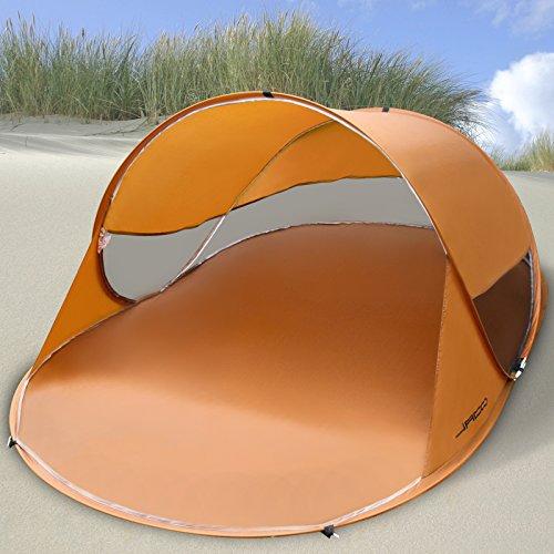 Jago Strandmuschel Campingzelt Pop-up Wurfzelt ca.145/95/245 cm UV Schutz Strandzelt in Sudan Brown