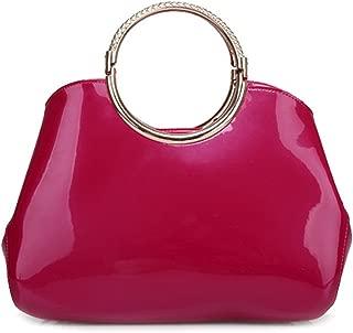 Women's Patent Leather Handbag Exquisite Shoulder Bag Bright Color Top Handle Tote