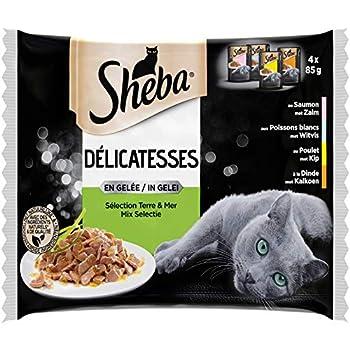 Sheba Délicatesses en gelée pour chat adulte – Nourriture humide pour chats - sélection Terre & Mer – Lot de 13 x 4 (52 sachets de 85g)