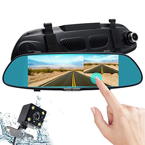 MASO Miroir Dash Cam, écran Tactile 17,8 cm 1080p Voiture Caméra de recul Grand Angle de 170 degrés Vision de Nuit Avant et arrière de recul Double Objectif avec caméra de recul étanche