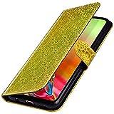 MoreChioce kompatibel mit Samsung Galaxy A50 Hülle,kompatibel mit Galaxy A50 Handyhülle,Premium Bling Glitzer PU Leder Schutzhülle Protective Brieftasche Klappbar Stand Flip Ledertasche Gold -