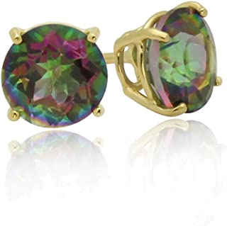 14K Yellow Gold Round Rainbow Mystic Color CZ Prong Set Screwback Stud Earrings (Other Sizes)