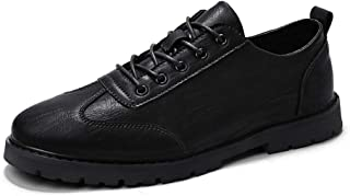 XUJW-Shoes, Leisure Oxford for Men Low Top Skate Shoes Lace up Microfiber Leather Solid Color Durable Comfortable Wear Resistant Rubber Sole Round Toe Anti-Skid (Color : Black, Size : 8.5 UK)