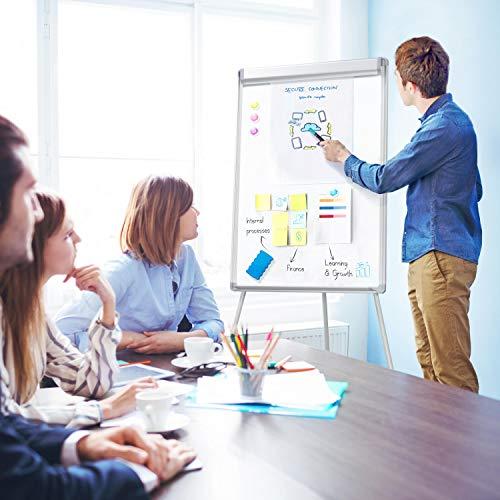 Yaheetech Whiteboard mit Dreibein Ständer, magnetisch Standboard 60x90 cm, mobiles Flipchart-Staffelei, Magnettafel, trocken abwischbar Schreibtafel, höhenverstellbar, ideal für Home Office