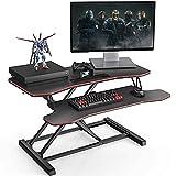 Fenge Standing Desk Converter Grande 36''/91.5cm Nero/Rosso Scrivania in piedi con ripiano per tastiera Scrivania Altezza Regolabile SD360007RD