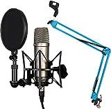 Rode NT1-A - Juego condensador de micrófono + Keepdrum NB35BL, brazo articulado y trípode, color azul