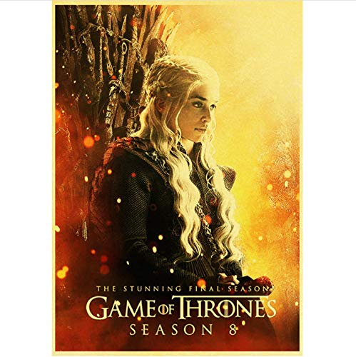 qiaolezi Print On Canvas Game of Thrones Season 8 Poster 2019 New Movie Vintage Posters Art Retro Wall Pictures For Living Room Decor A979 50×70CM Without Frame