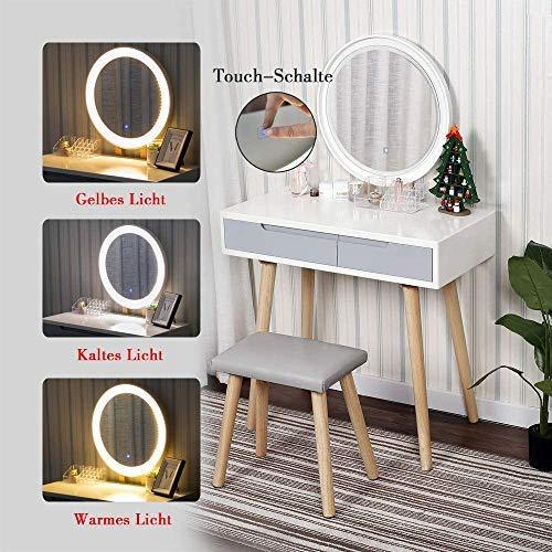 YU YUSING Schminktisch LED-Beleuchtung Kosmetiktisch mit gepolstertem Hocker Frisiertisch Spiegel Schublade Kommode Make-up Tisch, Wohnzimmer, Modern(Rund)