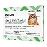 Amazon Brand - Solimo Flea and Tick Topical Treatment for Cats (over 1.5 pounds), 3 Doses