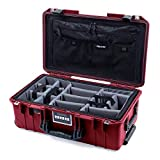Pelican Oxblood & Black 1535 air case with Grey CVPKG dividers & Combo-Pouch lid Organizer.