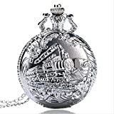 Taschenuhr Retro-Silber-Taschen-Uhr-Zug Mit Blumen-Quarz-Uhr Mit Halsketten-Kette Weinlese-Anhänger Männer Frauen