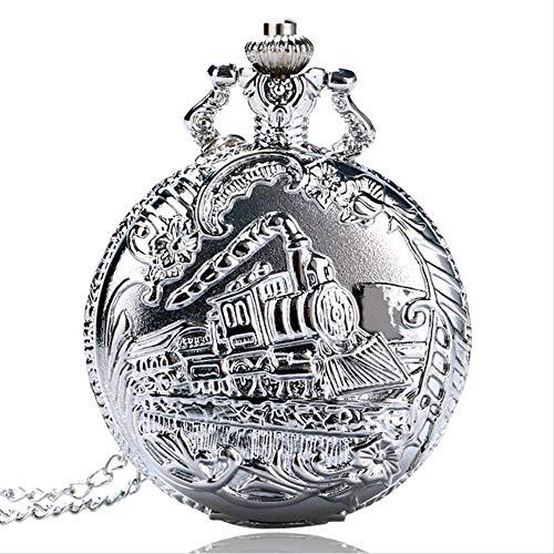 Tren Reloj De Bolsillo Reloj De Bolsillo De Plata Retro con La Flor Reloj De Cuarzo con La Cadena del Collar Pendiente De La Vendimia Hombres Mujeres