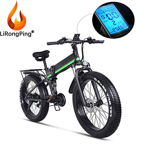 LiRongPing 48V 1000W Electric Bicycle Folding E-Bike, 26inch 4.0 Fat Tire Electric Mountain Bike,21 Speeds,12.8AH Removable Lithium Battery,1000W Hub Motor (Color : Green)