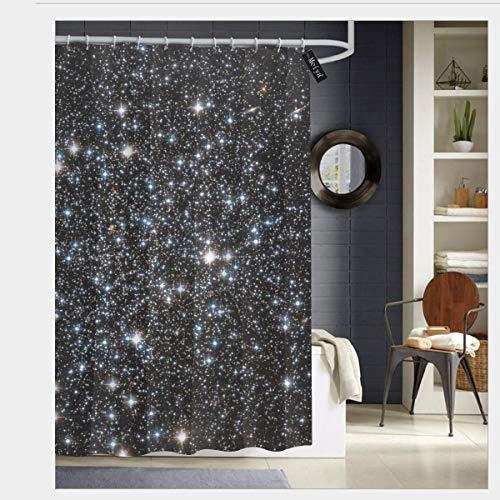 Sotyi-ltd Duschvorhang mit Glitzer-Galaxie-Druck, nicht echter Glitzer, mit 12 Haken, langlebig, schimmelresistent, wasserdicht, waschbar, 183 x 183 cm