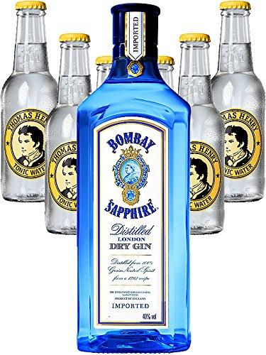 Bombay Sapphire Gin 0,7 Liter + 6 x Thomas Henry Tonic Water 0,2 Liter