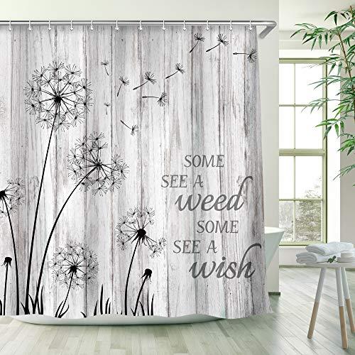 RosieLily Farmhouse Shower Curtain Rustic Dandelion Wish Seeds Shower Curtain Rustic Gray and White Wooden Barnwood Bath Curtain Floral Country Shower Curtain Bathroom Decor 72 Inches