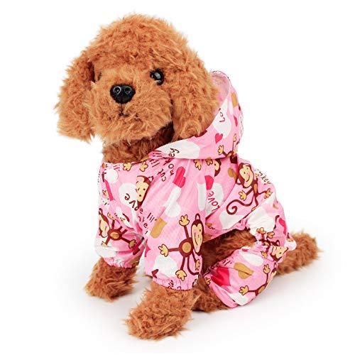 Teddy Bichon hond regenjas kleine schnauzer puppy hond paraplu waterdichte poncho benen Corgi Pet kleren roze M