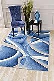 Persian-Rugs 2305 Blue Swirls 7'10 x10'6 Modern Abstract Area Rug Carpet - 7'10 x 10'6