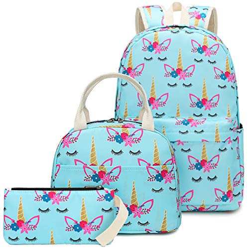 CAMTOP School Backpack for Girls Teens Bookbag Set Cute Student Backpack 3 In 1, School Bags + Lunch Box + Pencil Case (Light Blue)