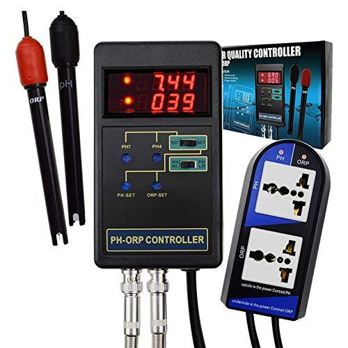 Sonline Controlador Digital de PH y ORP 2 en 1, Electrodo Reemplazable, Sonda Tipo BNC, Probador de Calidad del Agua con Enchufe de la UE