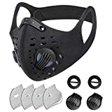 SKYLMW Face Mask Outdoor,Breathable Washable Dust Reusable Face Cover with 2 Replaceable Valves and 4 Replaceable Filters,for Workout Training Athletic Excersize Exercise Cycling Running Cover,Black