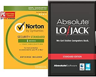 Norton Security Standard - 1 Device [Key Card] with Computrace LoJack for Laptops Standard 1 Year [Online Code]
