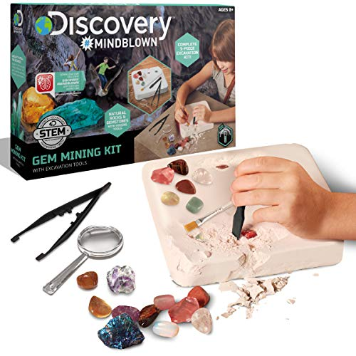 Discovery Kids Gemstone Excavation Kit, Chalk Exploration Block with 6...