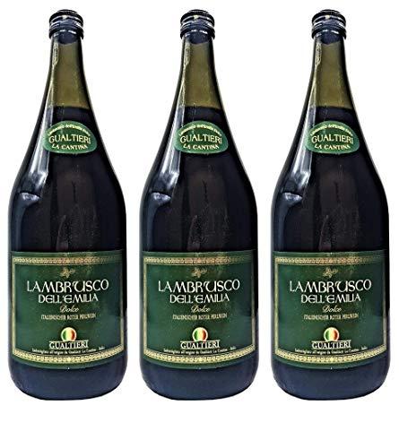 Lambrusco rosso dolce Gualtieri Dell`Emilia IGT (3 X 1,50 L) - Vino Frizzante - Roter Süßer Perlwein 7,5{f8add5bbb44d825e63182c8209a769048a5f16273c06e7daffb36ff7ec70b997} Vol. aus Italien