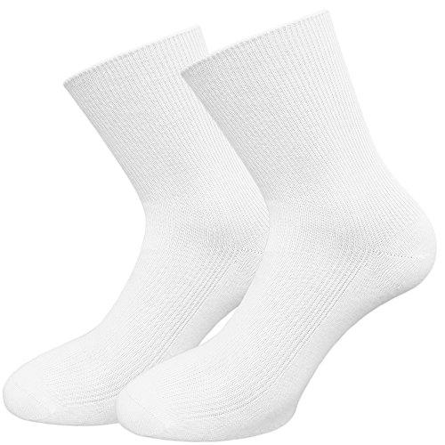 Unbekannt Socken Damen 100prozent Baumwolle 10er - 20er Set Weiß oder Schwarz handgekettelte Zehen (39-42, 20 X Weiß)