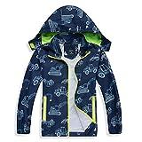SHIBASHAN Chubasquero impermeable para niños, abrigos de lluvia al aire libre, chaqueta Softshell para niñas de 2 a 7 años, Excavadora azul marino, 5-6 Years