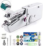 Máquina de coser Fnova de mano, mini máquina de coser eléctrica portátil inalámbrica para niños principiantes Costura doméstica o de viaje, reparaciones fáciles y rápidas Tela de mezclilla de cuero