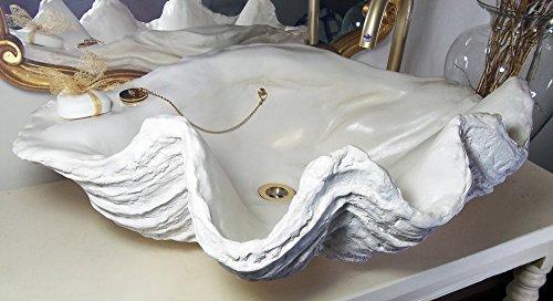 Riesiges Waschbecken mit Muschel-Muschel, handgeformt, 70 cm breit, goldfarbene / verchromte Beschläge