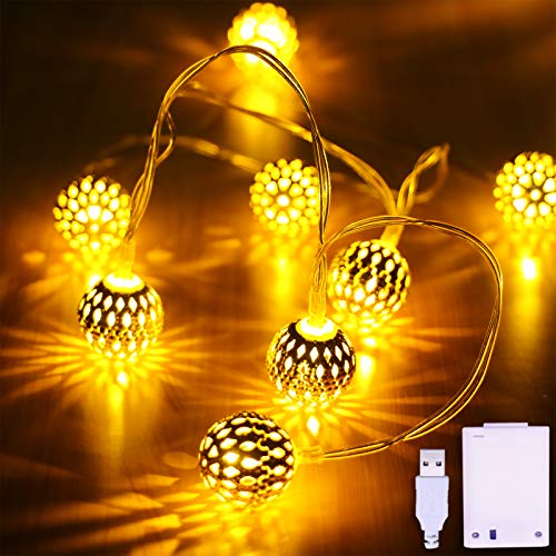 Anlaibao Globe String Lights,17ft 30 LED Large Golden Metal Ball, USB Plug in & Battery Operated Dual Power Gold Moroccan Fairy Lights, for Bedroom Garden Party Christmas Tree Decoration, Warm White