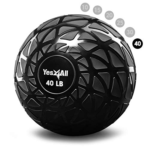 Yes4All Slam Balls 10 – 40lbs/Slam Medicine Ball Version/Sand-Filled No-Bounce Exercise Ball, Suitable for Crossfit Workout and Strength Training (Black) – 40lbs